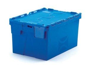 Distributiebak 65 liter incl. etiketvenster, blauw