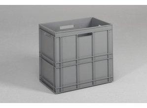 Rako-bak 100 liter met open grepen, grijs, stierenkopbodem