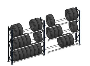 Bandenstelling 200cm hoog, 450 cm breed, 3 niveaus