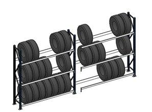 Bandenstelling 200cm hoog, 360 cm breed, 3 niveaus