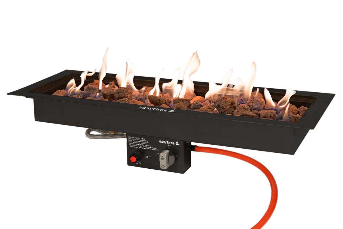 Easy Fires inbouwbrander rechthoek zwart 76x26cm.