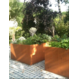 Cortenstaal plantenbak Andes met wielen 100x100x60cm.