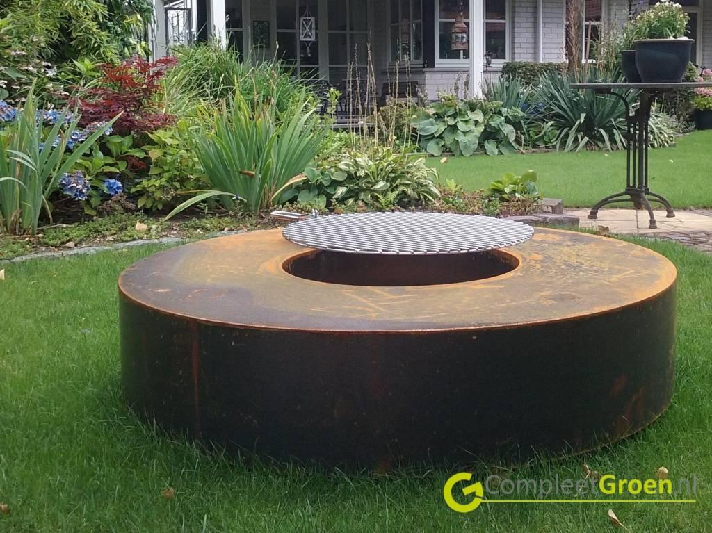 Cortenstaal VuurtafelBBQ 120x120x28cm   Cortenstaal
