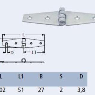 RVS Scharnier 102 x 51 x 2 mm