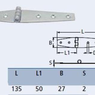 RVS Scharnier 135 x 27 x 2 mm