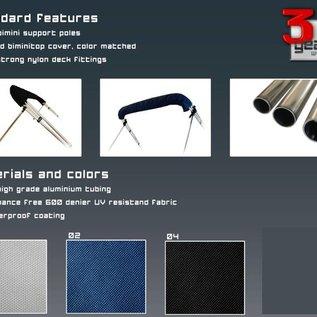 Biminitop RVS 4-boogs / Hoogte 117 cm - Lengte 232 cm