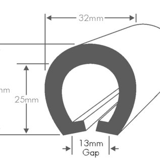 Wilks PVC Stootrand boot, type U 205  (Per meter)