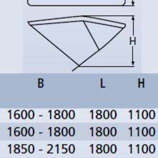 Biminitop aluminium met 3 bogen. Hoogte 110cm