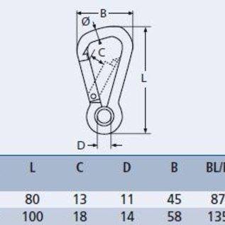 Karabijnhaak assymetrisch met oog RVS A4-AISI316