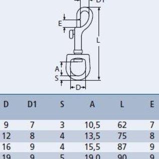 Musketonhaak met warteloog RVS A4-AISI316