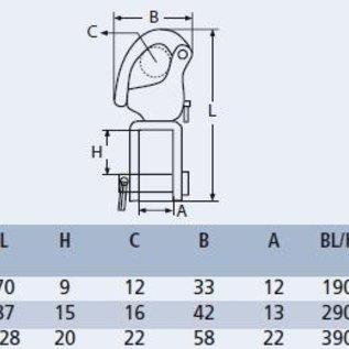 Snapsluiting met gaffel RVS A4-AISI316