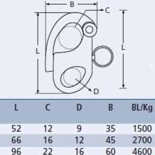 Snapsluiting met oog RVS A4-AISI316