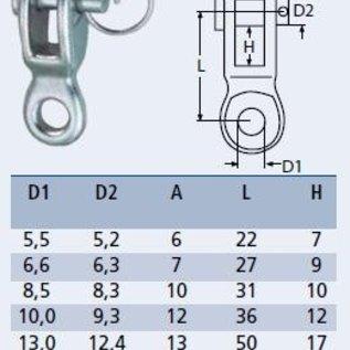 Sluiting voor wantspanners en spanschroeven RVS - 6 mm