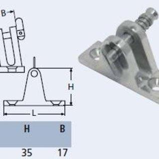 RVS dekplaat 80gr. met uitneembare pin.