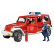 Jeep Wrangler Unlimited Rubicon fire department vehicle with fireman 1:16
