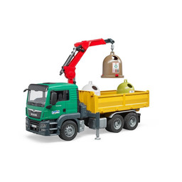 MAN TGS truck with 3 glas recycling containers and bottles