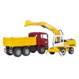 MAN TGA Construction truck and Liebherr Excavator
