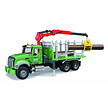 MACK Granite timber truck with loading crane and 3 trunks