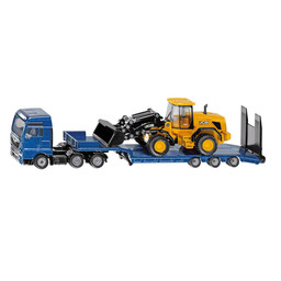 MAN with low loader and JCBv