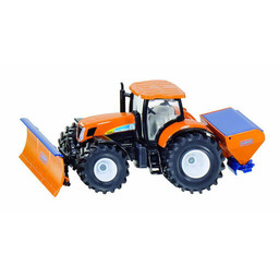 Tractor with ploughing plate and salt spreader