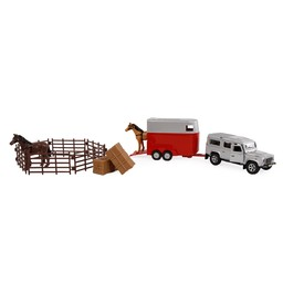 Kids Globe Land Rover with horsetrailer and accessoiries
