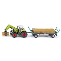Claas with square bale gripper and trailer