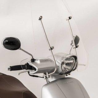 Peugeot Hoog windscherm transparant, RVS beugels Peugeot Django origineel