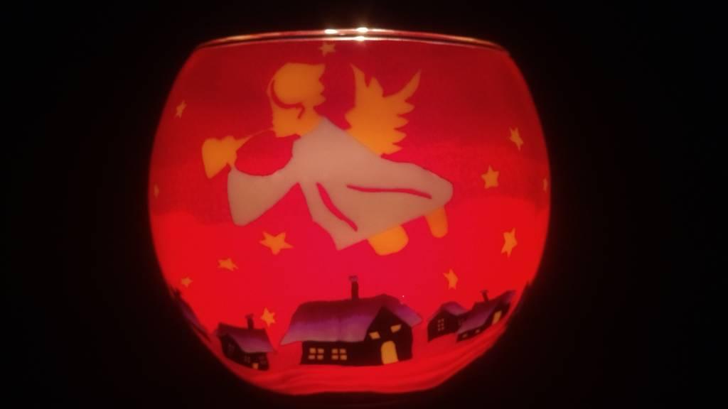 Leuchtglas Windlicht Engelen Rood