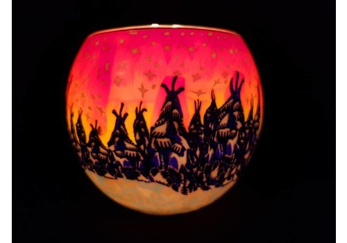 Leuchtglas Windlicht  winterbos