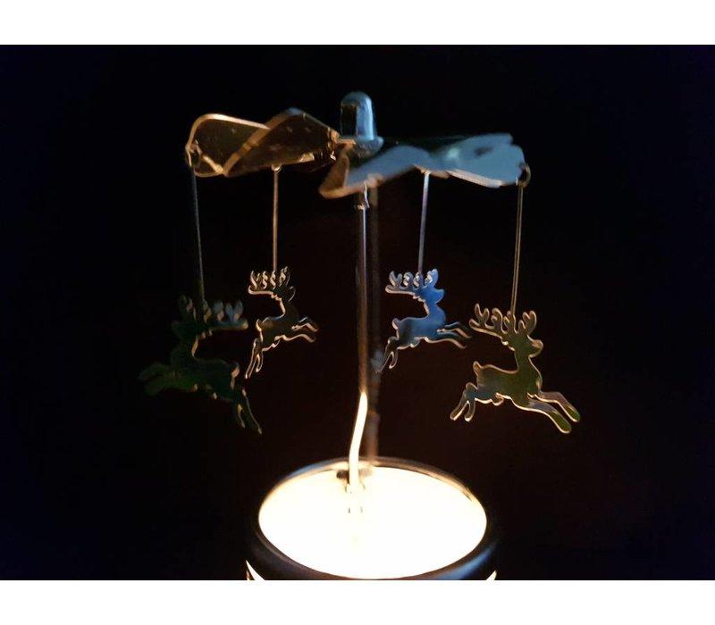 Windlicht Carrousel Rendier Zilver