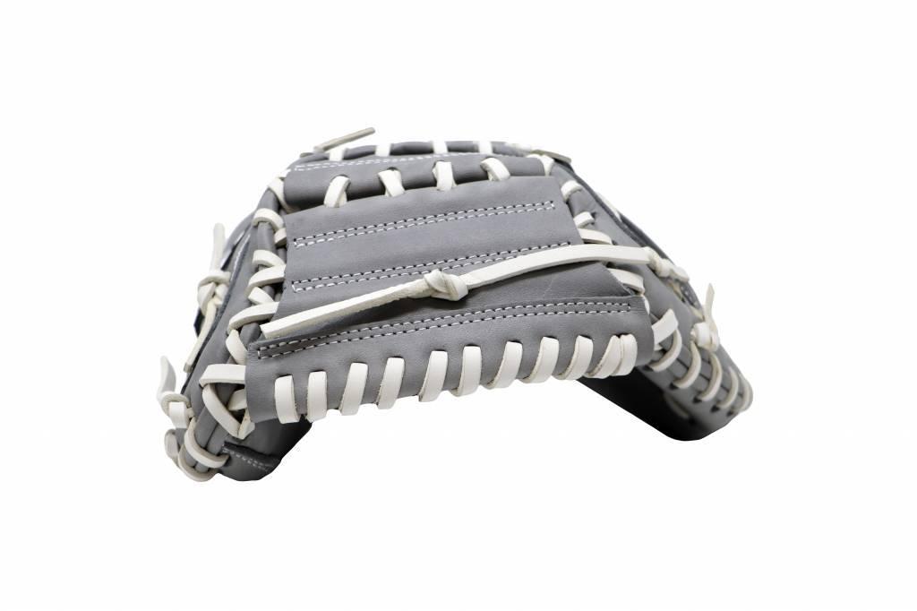 "FL-203 "" softball glove, high quality, leather, catcher, light grey"
