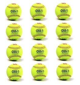 OSS-1 balle de softball entraînement, 12'', jaune, 1 douzaine