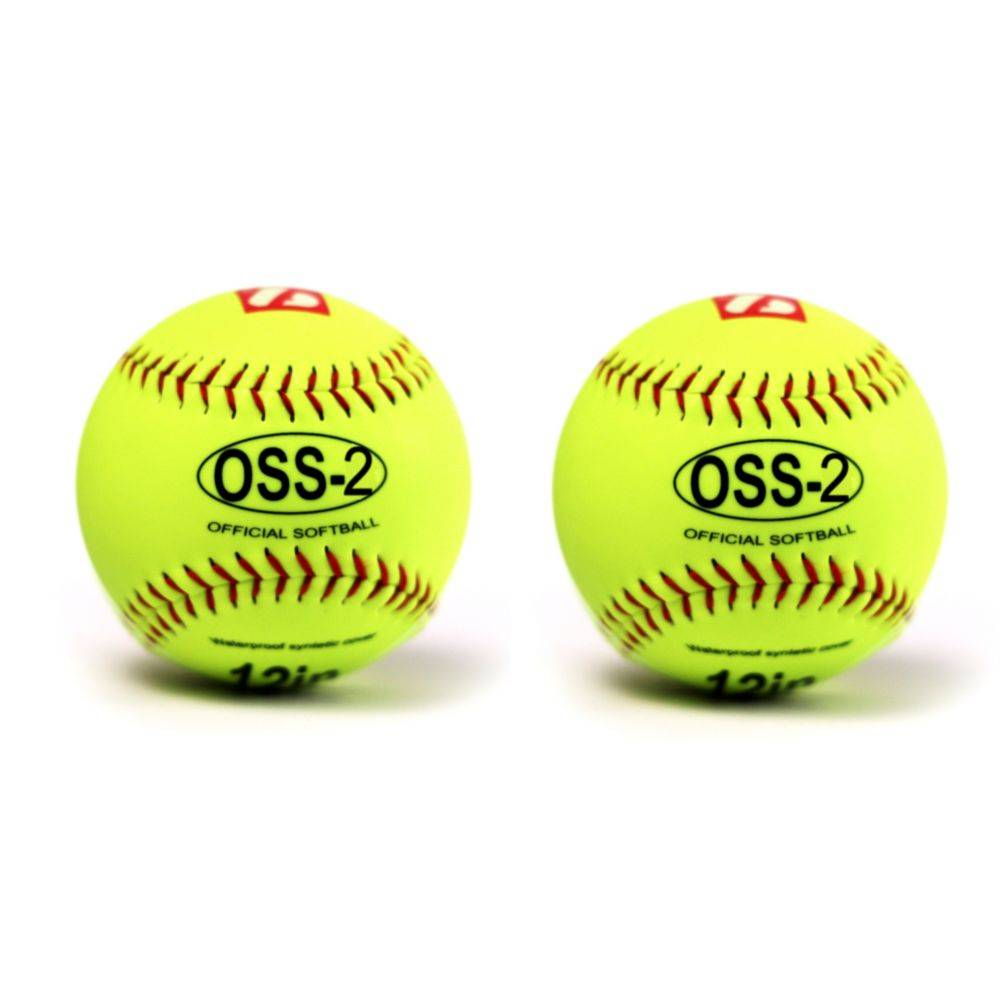 """OSS-2 Practice softball ball, soft touch, size 12"""", yellow, 2 pieces"""