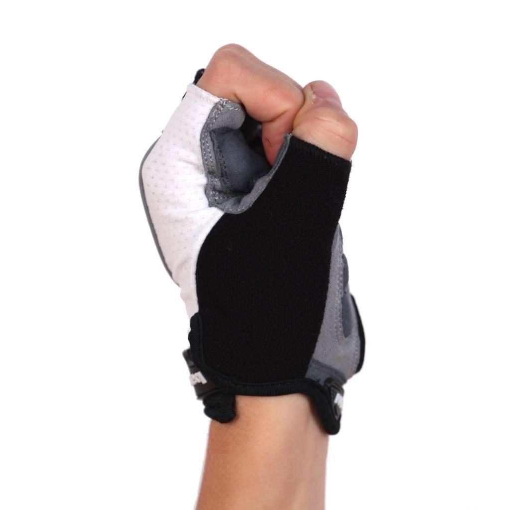 BG-04 fingerless bike gloves for competitions, white