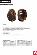 """GL-301 Competition first base baseball glove, genuine leather, size 31"""", black"""