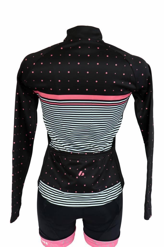 Bike textile - long-sleeved jacket, black&pink, windbreaker