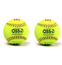 "OSS-2 Practice softball ball, soft touch, size 12"", white, 2 pieces"