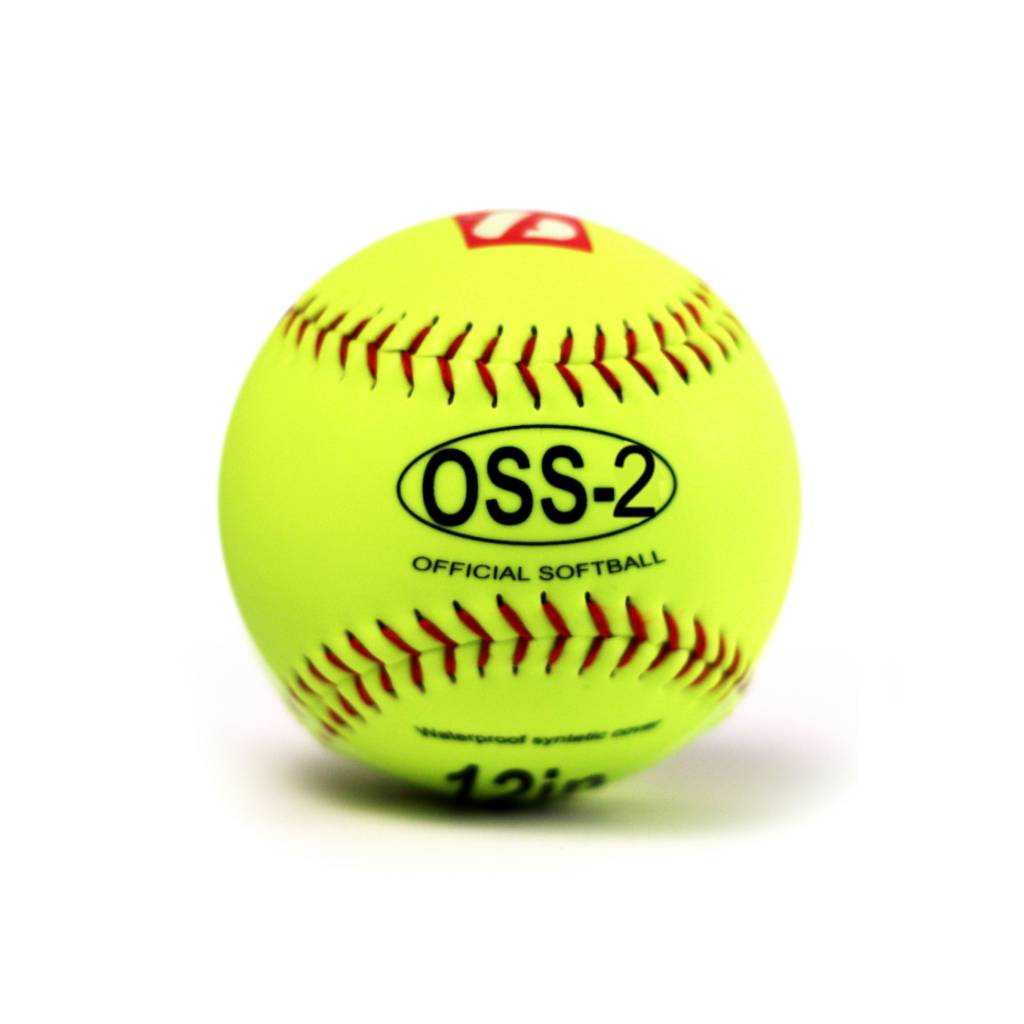 """OSS-2 Practice softball ball, soft touch, size 12"""", white, 2 pieces"""