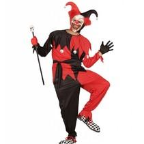 Narren kostuum Halloween rood/zwart