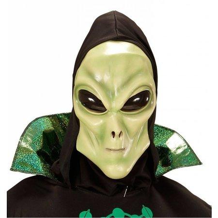 Alien masker met zwarte kap en bolle ogen volwassen