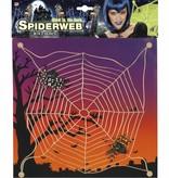 Halloween Spinneweb met 2 spinnen lichtgevend in donker