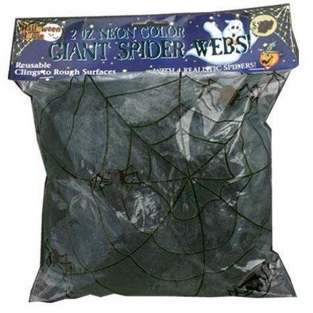 Spinneweb zwart 50gr + 2 glow in dark spinnen