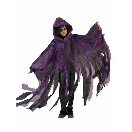 Griezelige Halloween cape kind paars