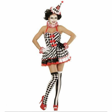 Druk Patroon Pierrot Vrouw Kostuum
