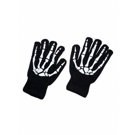 Handschoenen zwart met bottenprint