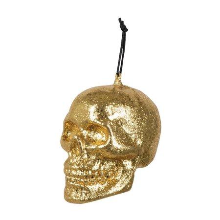 Doodshoofd Glitter goud (10 x 8 cm)