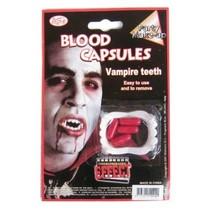 Vampier tanden met bloedcapsules