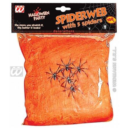 Spinnenweb oranje 100 gram met 5 spinnen