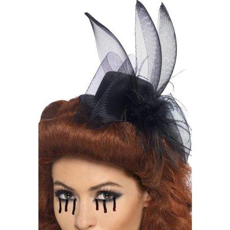 Zwart dames hoedje met veren en tule