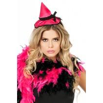 Haarband met heksenhoed roze